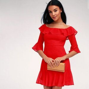 LULULS Romantic Mood Red Off-the-Shoulder Dress M